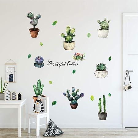 Topgrowth Adesivi Murali DIY Cactus Removibile Sticker Adesivo da Parete Adesivo Casa Famiglia Arte Murale Home Decor