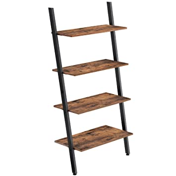 new style 85b27 97704 VASAGLE Industrial Ladder Shelf, 4-Tier Bookshelf, Storage Rack Shelves,  for Living Room, Kitchen, Office, Iron, Stable, Sloping, Leaning Against  The ...