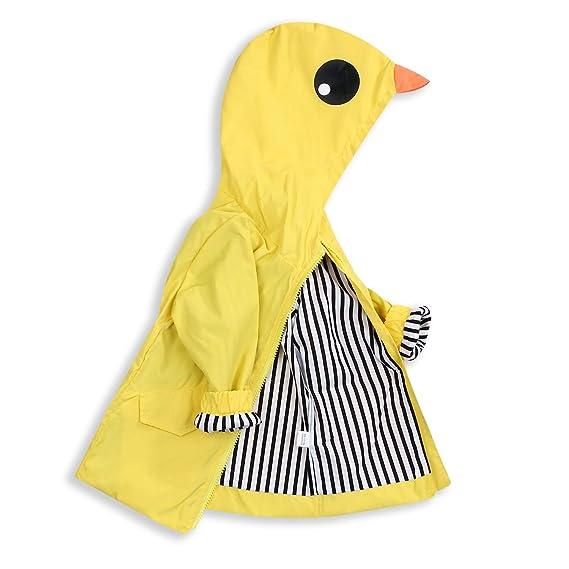 Toddler Baby Boy Girl Duck Raincoat Cute Cartoon Hoodie Zipper Coat Outfit