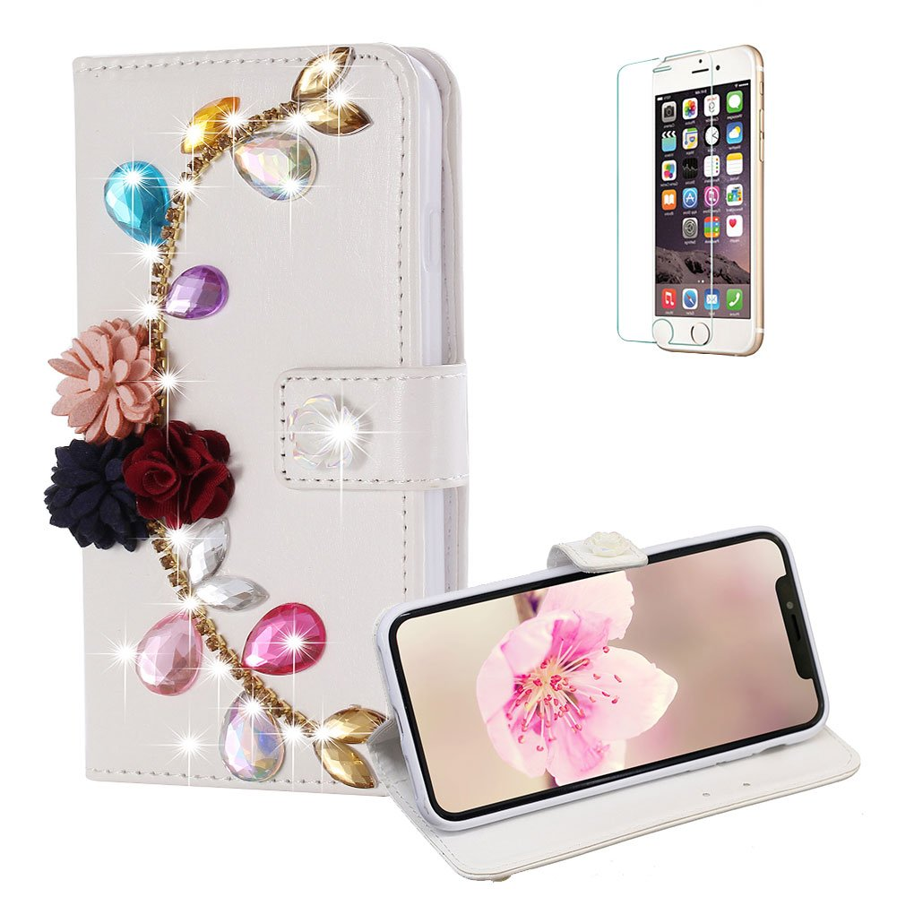Funyye Diamond Wallet Cover for iPhone X,Luxury 3D Flower Leaves Design Crystals Bling Magnetic Flip Case Kickstand Feature Card Slots Full Body Soft Silicone PU Leather Case for iPhone X