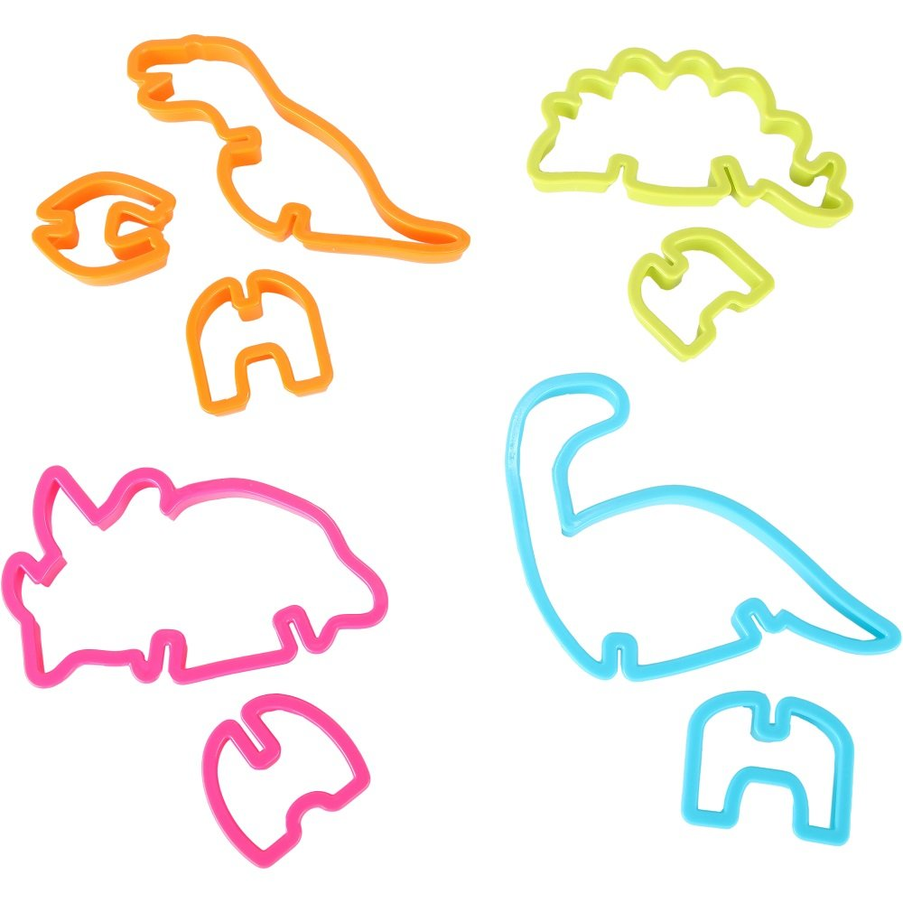 Home-X A Deliciously Fun Kitchen Craft for Kids of All Ages and Great Gift for Friends and Family SH307 Set of 4 3D Dinosaur Cookie Cutters