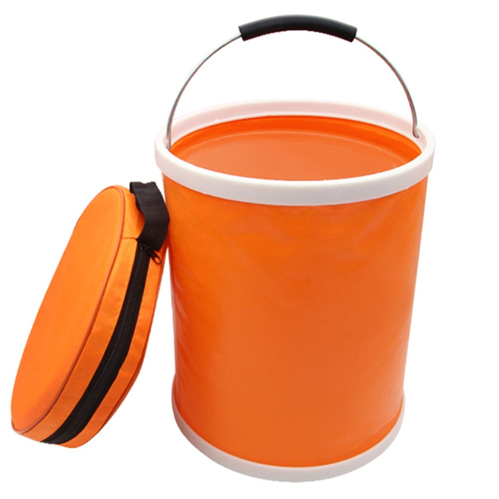 iRonrain (Upgraded) Collapsible Camping Fishing Bucket, 13L/3.4Gallons Upgraded Compact Portable Folding Water Container, Great for Hiking, Travel, Boating and Kids toy storage box (Orange)