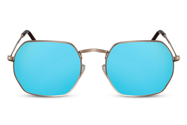 Cheapass Occhiali da Sole Hexagon Specchiati Metallo UV400 Masci Femmine