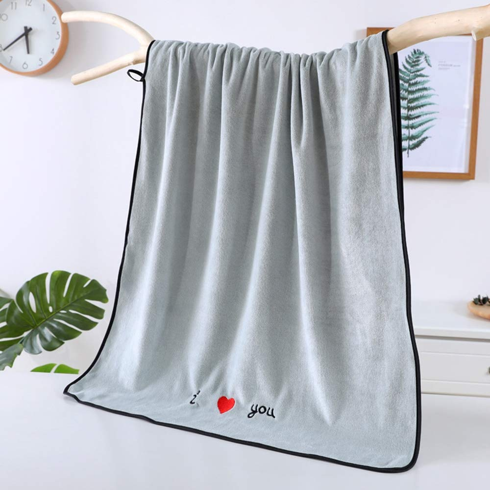 ZZW Dormitory Essentials, Microfiber Soft Thickening, Absorbent, Large Bath Towel, Easy to Wash, Suitable for Daily Use,Blue