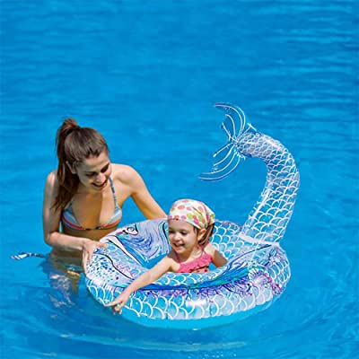 HANMUN Inflatable Mermaid Pool Float 6+Years Floaties for Adults Pool Float Swimming Ring Pool Float Inner Tube Outdoor Beach Party Play Pool Water Fun Toy for Adults: Toys & Games