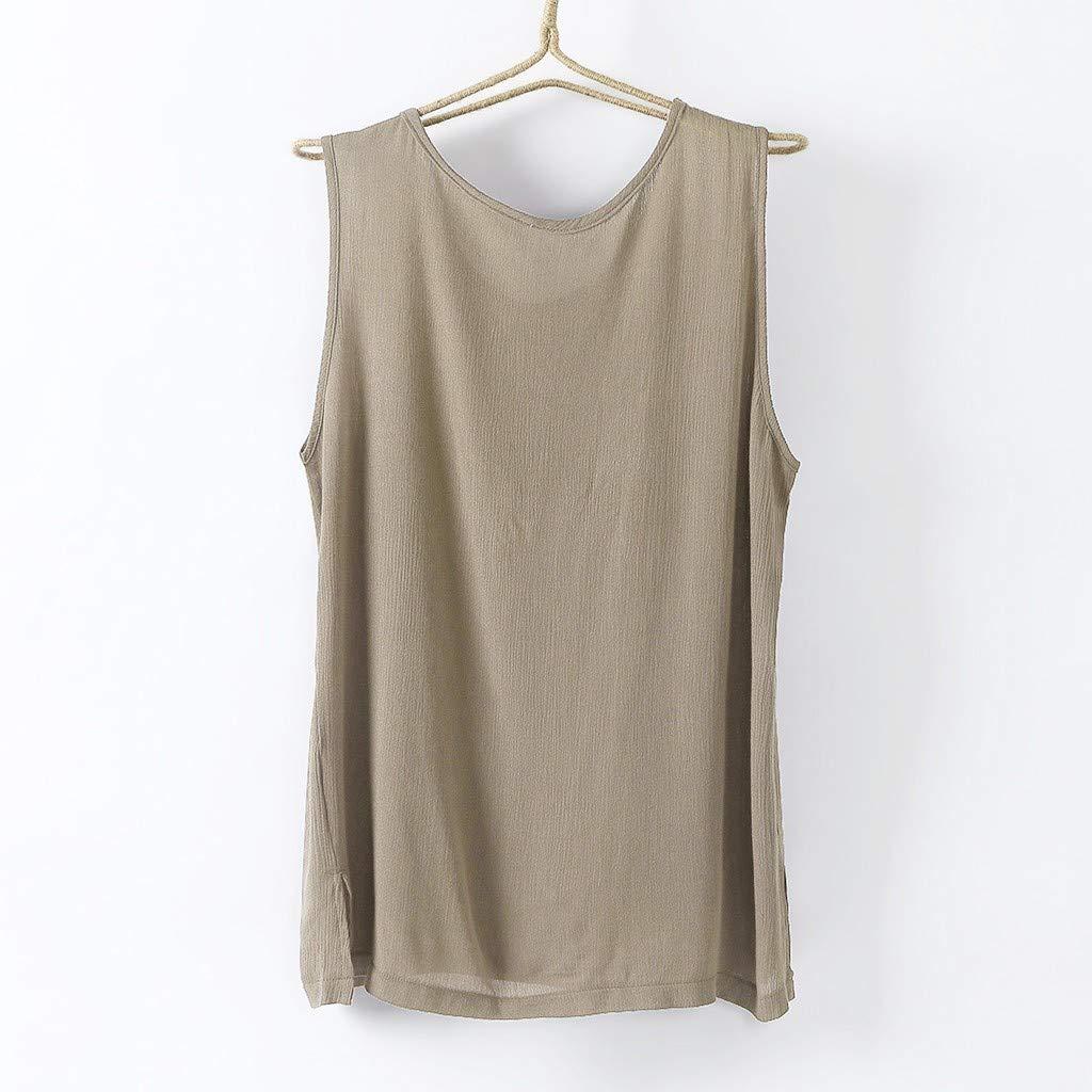 Hanomes Mens Linen Vests Bodybuilding Training Gym Basketball Tank Tops Basic Plain Color Casual Undershirt