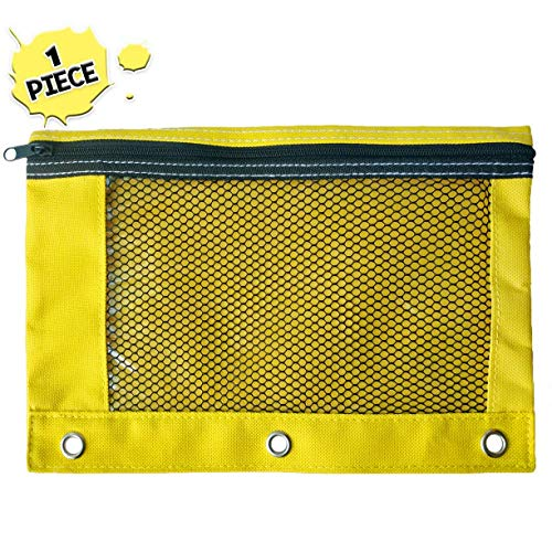 Yellow Zippered Pencil Pouch by School Smarts. Cute Mustard Colored Utility Case with a Clear Window for Viewing Contents ()