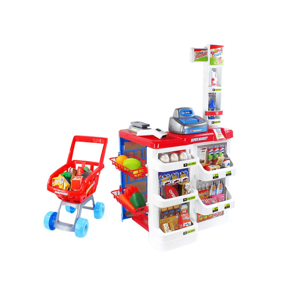 Mostbest Kids Toy Supermarket Register Stand Food Shopping Grocery, Trolley Accessories Realistic Pretend Play Lights and Sound