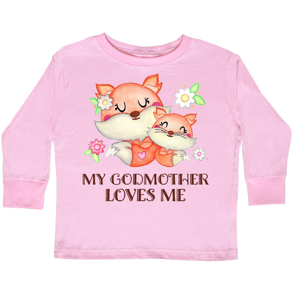 727a1b17 Amazon.com: inktastic - My Godmother Loves Me- Cute Fox Toddler Long Sleeve  T-Shirt 2f81c: Clothing