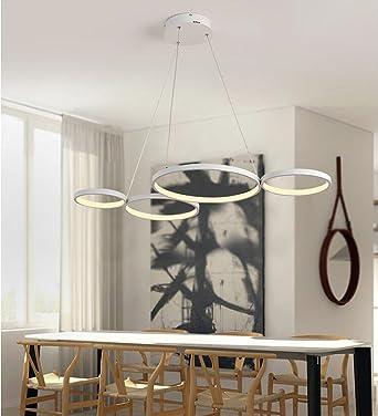 LED Pendelleuchte Modern 4 Rund Ring Design Hängeleuchte ...
