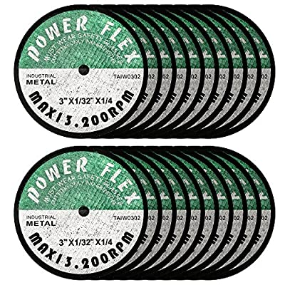 """3"""" x 1/32"""" x 1/4"""" Arbor Premium Cut Off Wheels - 20 pack, for cutting all Steel and Ferrous Metals and Stainless Steel"""