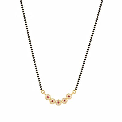 Archi collection traditional gold plated american diamond archi collection traditional gold plated american diamond mangalsutra pendant necklace with chain for women amazon jewellery aloadofball Images