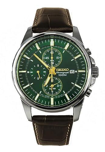 Seiko Reloj Cronógrafo para Hombre de Cuarzo con Correa en Cuero SNAF09P1: Seiko: Amazon.es: Relojes