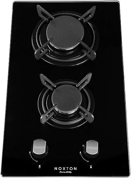 NOXTON Construido-en 30cm 2 Fuegos Encimera De Gas Domino Negro Cocina de Vidrio con Kit de GLP & FPD [Clase de Energía A +]