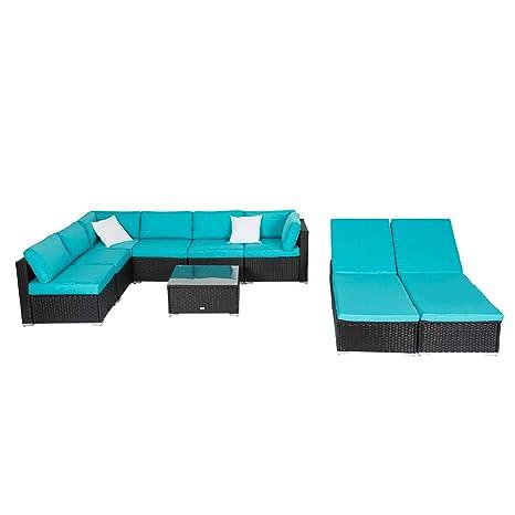 Kinbor 9Pcs Outdoor Patio Rattan Wicker Sofa Sectional Chaise Lounge Furniture Set