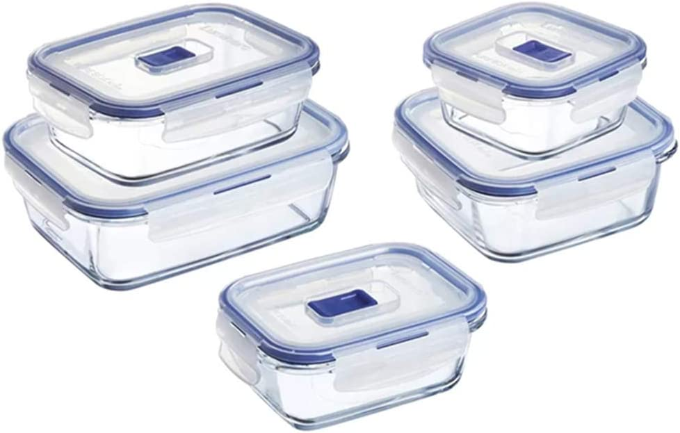 Luminarc Pure Box Active Glass Food Storage Container with Sliding Vent Lid (10 Piece Set)