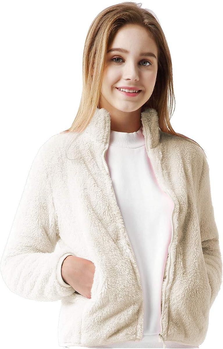 FOURSTEEDS Womens Casual Sherpa Fleece Pullover 1//4 Zipper Long Sleeve Collar Outwear Jacket Coat