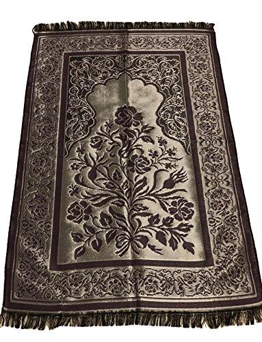 Luxury Quality Silk Rose Pattern Islamic Prayer Rug Janamaz Sajjadah Muslim Namaz Seccade Turkish Prayer Rug (Purple) (Silk Rug Turkish)