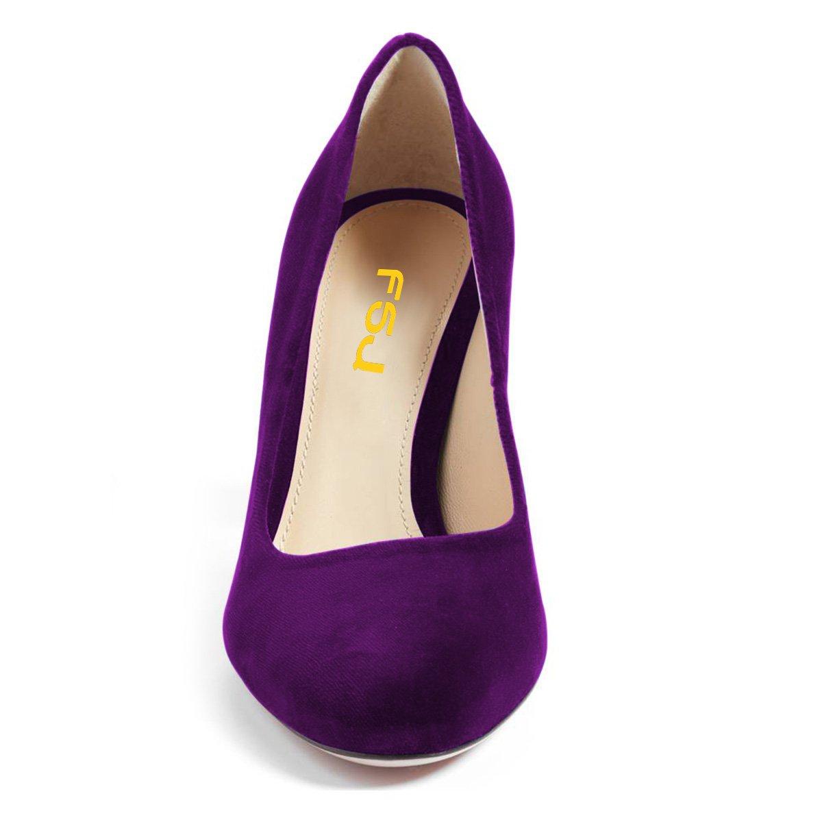 1b69910f31d1 ... FSJ Women Classic Round Toe Velvet Velvet Velvet Pumps Chunky High Heels  Slip On Office Dress ...