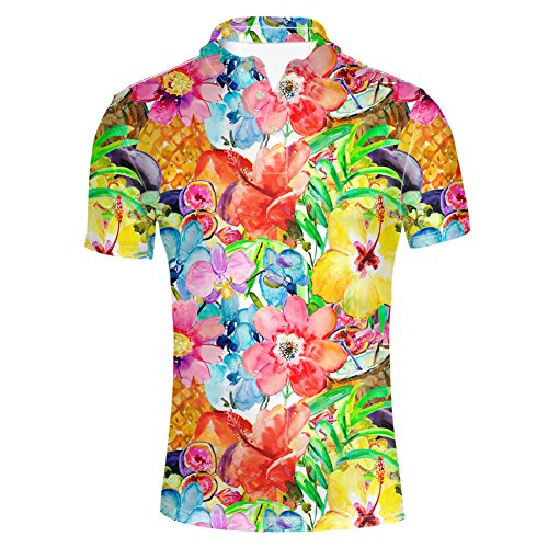 HUGS IDEA Flowers Print Hawaiian Short Sleeve Jersey Polos T-Shirt Tees Button Down Shirts Beach Aloha Party Rich
