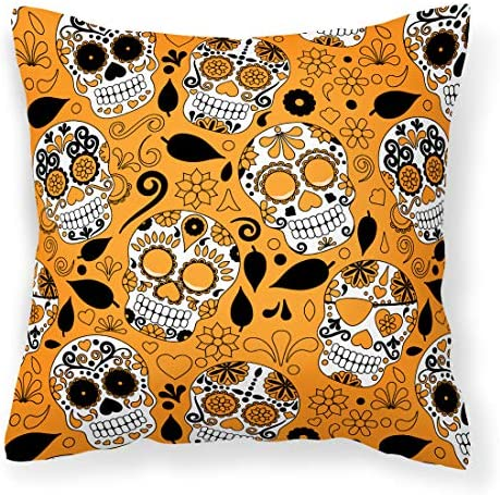Caroline s Treasures BB5118PW1414 Day of The Dead Orange Fabric Decorative Pillow, 14Hx14W, Multicolor