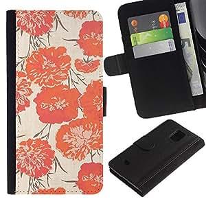 Billetera de Cuero Caso Titular de la tarjeta Carcasa Funda para Samsung Galaxy S5 Mini, SM-G800, NOT S5 REGULAR! / Peach Vignette Wallpaper Flowers / STRONG