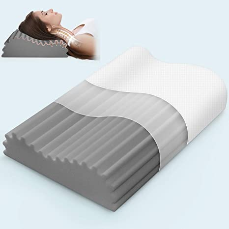 ivellow memory foam pillow bamboo charcoal pillow for sleeping cervical contour pillow for neck pain neck support pillow for side sleeper pillow