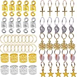 bread beads - 125pcs Bread Rings Set Dreadlocks Clips, Beads Accessories Rings Braid Cuff Hair Decoration for Hair Assorted Pattern Gold, Silver
