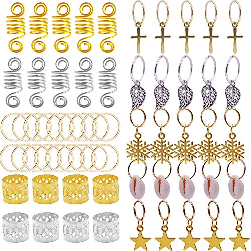 125pcs Bread Rings Set Dreadlocks Clips Twisted Braid Spring Hair Extension Cuffs, Beads Accessories Rings Braid Cuff Hair Decoration for Hair Assorted Pattern Gold, (Bead Ring Patterns)