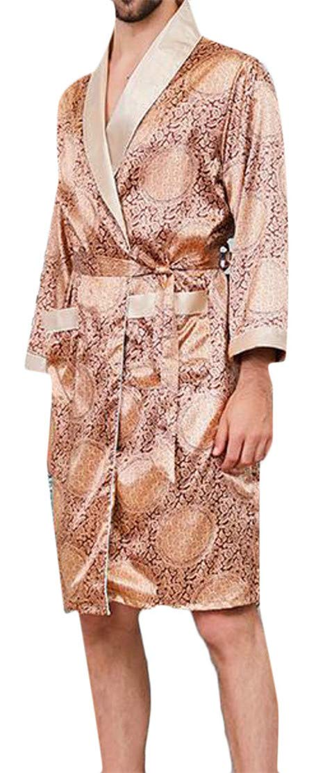 Cromoncent Men Thin 2 Piece Floral Print Pajama Satin Tracksuit Sleep Bathrobe Gold XL