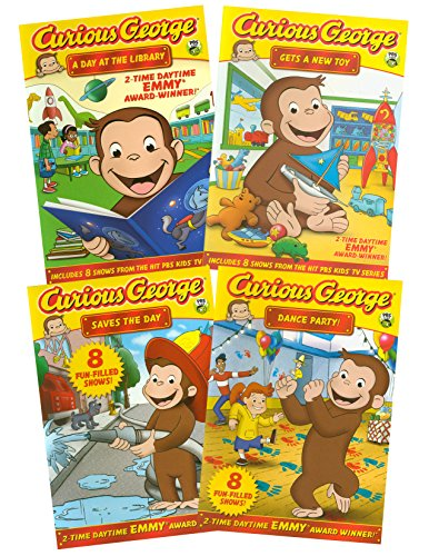 Curious George Collection # 4 (A Day at the Library! / Gets a New Toy! / Saves the Day! / Dance Party!)