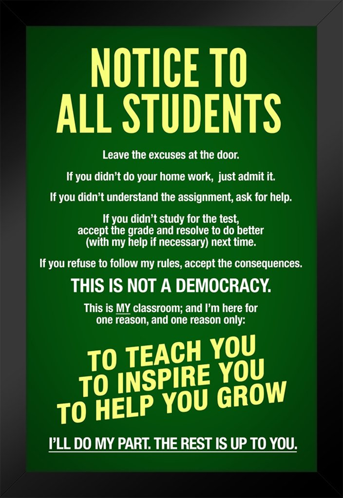 Classroom Sign Notice To Students Teachers Rules Green Chalk Board Educational Poster 30x46 cm inch