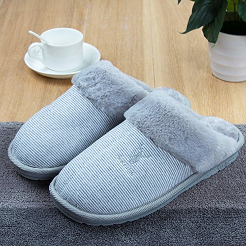 Fankou autunno inverno paio di pantofole di cotone femmina maschio home soggiorno con una piscina calda bella morbida antiscivolo thick ,39-40, grigio scuro