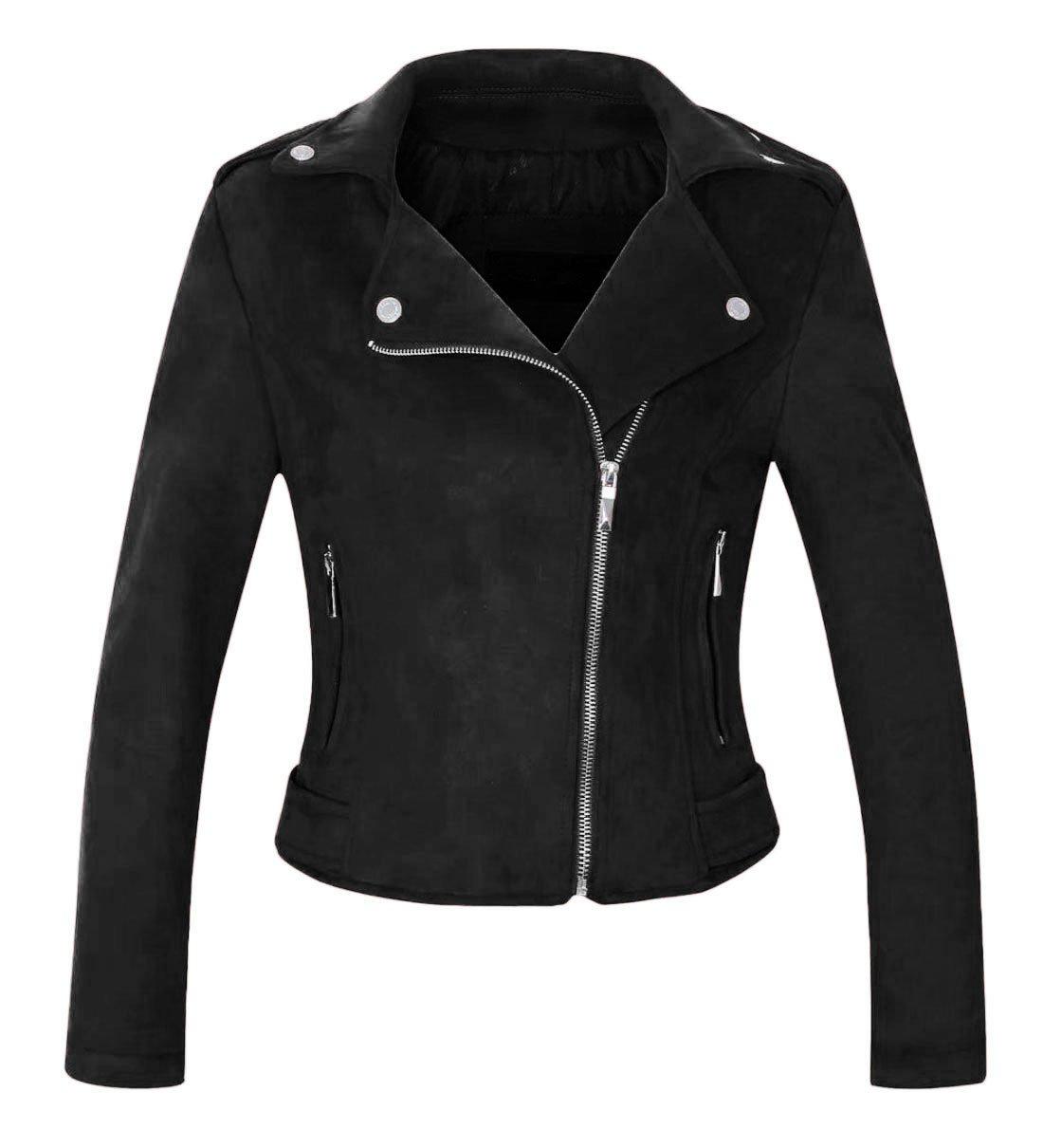 Chartou Women's Stylish Notched Collar Oblique Zip Suede Leather Moto Jacket (Medium, Black)