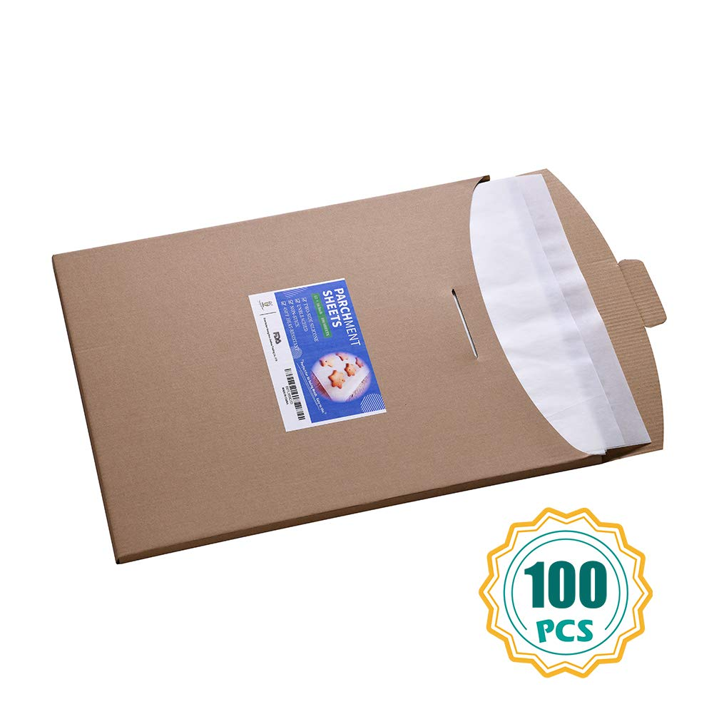Parchment Paper Sheets-100 Count, 16x24 inch Parchment Baking Paper Fit for Full Size Baking Pan by katbite
