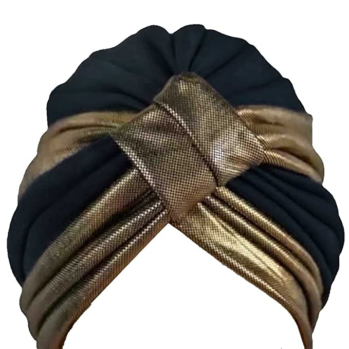 1920s Flapper Headband, Gatsby Headpiece, Wigs  Gold Trim Turban Head Cover Sun Cap Hat $18.99 AT vintagedancer.com