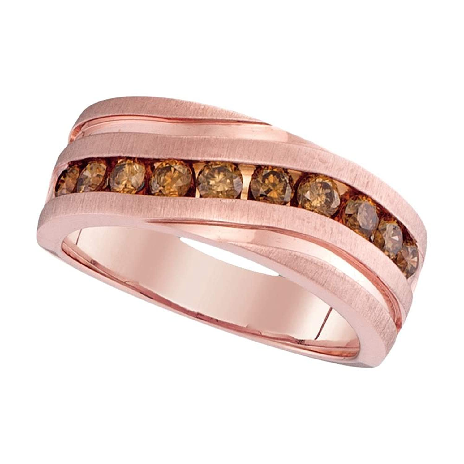 Mens Brown Diamond Wedding Band 10k Rose Gold Ring Chocolate Round ...