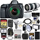 Canon EOS 6D Mark II Wi-Fi Digital SLR Camera & EF 24-105mm IS STM + 70-200mm f/2.8 L IS II USM Lens + 64GB Card + Backpack + Flash + Video Light + Battery/Charger Kit