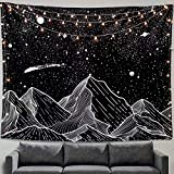 Zussun Mountain Moon Tapestry Wall Hanging Stars
