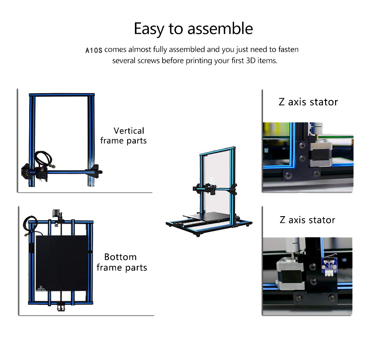 GUCOCO Newest CTC 3D Printer A10S Aluminum Frame High Accuracy A10S 3D Printers Kit With Free ABS//PLA Filament and TF Card Printing Size-300x300x400mm A10S 3D Printer