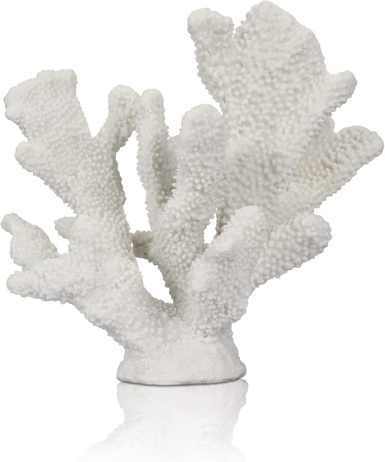 ALIWINER White Coral Statue Resin Coral Tabletop Decoration Home Living Room Decor (7.8in Tall)