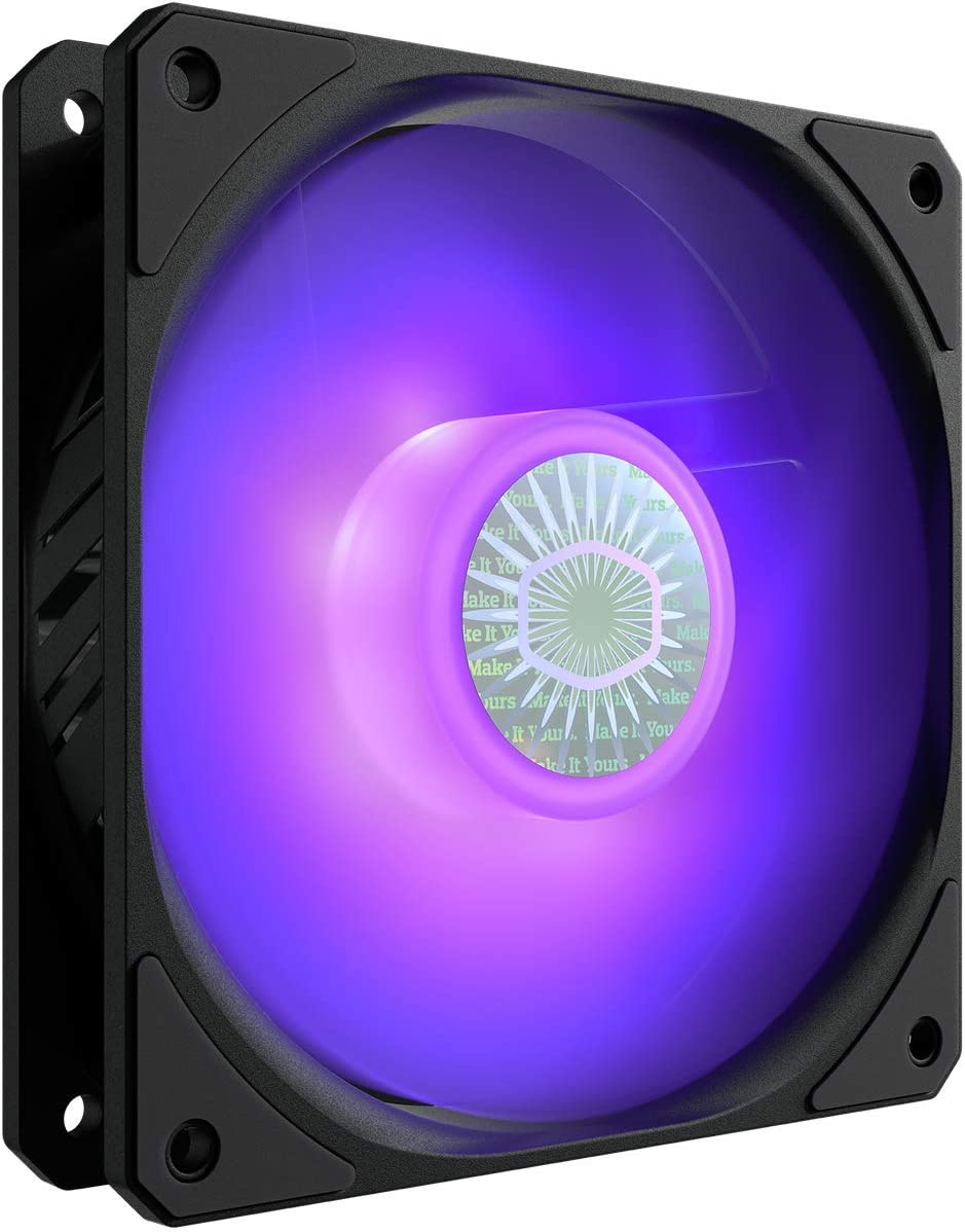 Cooler Master SickleFlow 120 V2 RGB Square Frame Fan with Customizable LEDs, Air Balance Curve Blade Design, Sealed Bearing, PWM Control for Computer Case & Liquid Radiator
