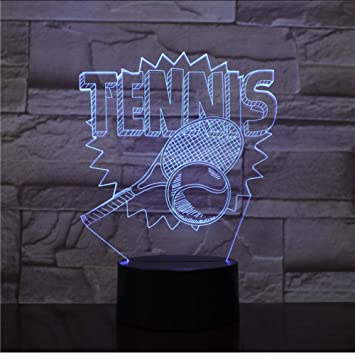 Amazon.com: Bedside Table Lamps 3D Tennis Racket Night Light ...