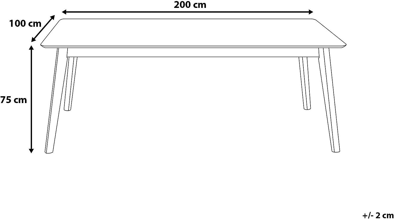 Beliani Mesa de Comedor de Madera de Caucho 200x100 cm MADOX
