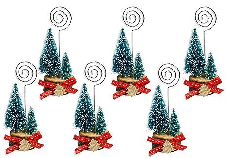 Segnaposto Natalizi Alimentari.Vetrineinrete Kit 6 Segnaposti Natalizi Con Alberi Di Natale Base