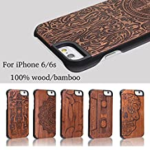 DOTOP Unique Thin Genuine Handmade Natural Wood Bamboo Print PC Hard Back with Carvings Nature Creative Ultra Slim Wooden Protective Cover Case for iPhone 6 / iPhone 6s, 4.7 inch