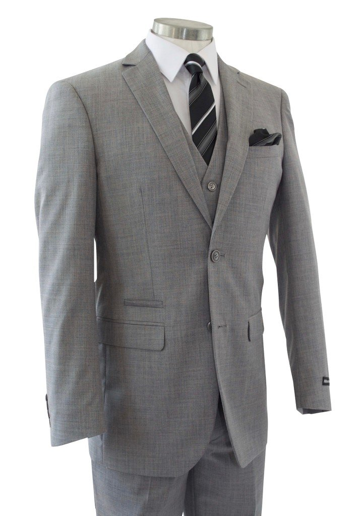 Alberto Cardinali Men's Sharkskin 3-Piece 2 Button Slim-Fit Suit w/ Matching Vest [Color: Light Gray   Size: 50 Regular / 44 Waist]