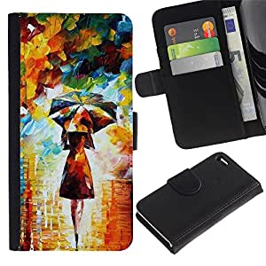 KingStore / Leather Etui en cuir / Apple Iphone 4 / 4S / Pintura colorida Art Girl Mujer Paraguas