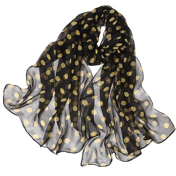 nuevo baratas chic clásico 100% Calidad Lenfesh Fulares seda Mujeres Bufanda seda con Estampado de Lunares Pañuelos  Fular Mujer Bufandas Estampado
