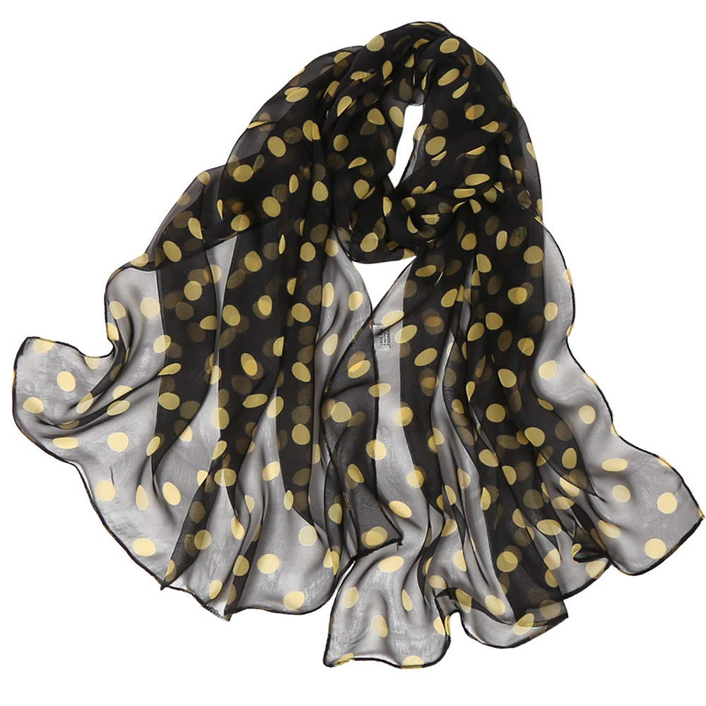 Wociaosmd Women's Dot Printing Soft Long Simulation Silk Scarves Shawl Wraps Fall Winter Scarf(Yellow,F)